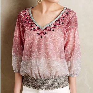 AKEMI + KIN embroidered ombré peasant blouse XL